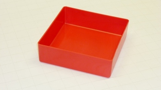 "6"" x 6"" x 2"" Red Plastic Box"