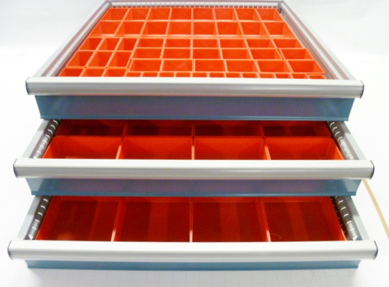 "94 Piece Assorment of 2"" Deep Red Plastic Boxes"