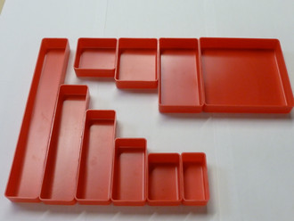 "1"" Deep, Red Plastic Box Sample Assortment (1 each of 10 sizes)"