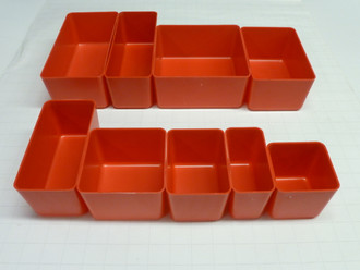 "3"" Deep Red Plastic Box Sample Assortment    (1 each of 9 sizes)"