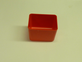 "3"" x 4"" x 3"" Red Plastic Box (Actual dimensions: W 2.875 X L 3.875 X H 2.75)"