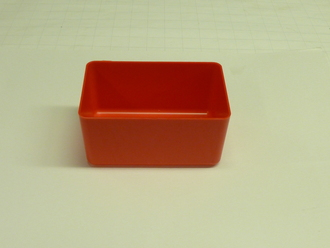 "4"" X 6"" X 3"" Red Plastic Box (Actual dimensions:  W 3.875"" X L 5.875"" X H 2.75"" )"