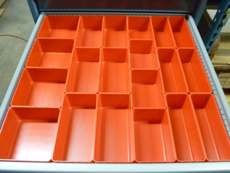 "65 PC Red Plastic Box Assortment   3"" Deep  Nine (9) Sizes"