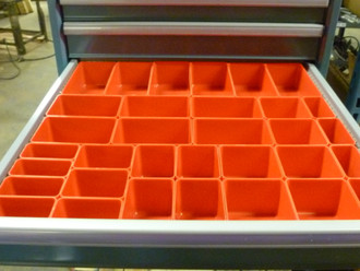"33 PC RED PLASTIC BOX ASSORTMENT . 3"" DEEP . FIVE (5) SIZES"