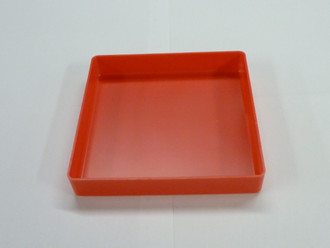 "6"" x 6"" x 1"" Red Plastic Box (Actual Dimensions: L 5.875"" X W 5.875"" X  HT 1"")"
