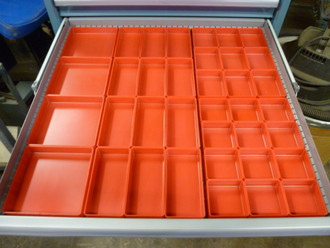 "37 PC Red Plastic Box Assortment  1"" Deep /  Four (4) SIZES"