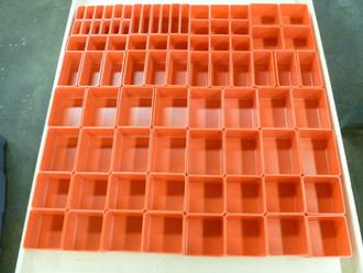 "233 pc Red Plastic Box Assortment . 2"" deep (18) sizes"