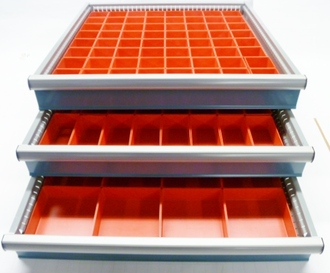"""112 Piece Assortment of 2"""" Deep Red Plastic Boxes - Fills 3 - 24"""" x"""" 24"""" Drawer"""