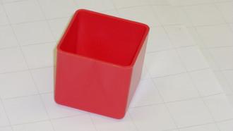 """2"""" x 2"""" x 2"""" Red plastic box"""