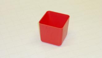 "3"" x 3"" x  3"" Red Plastic Box     (Actual dimensions:  2.875"" x 2.875"" x 2.75"")"