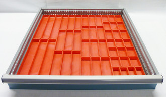 "49 Piece Assortment of 1"" Deep Red Plastic Bins in a 24"" x 24"" Tool Box Drawer"