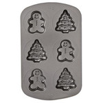 Non-Stick 6 Cavity Tree & Gingerbread Man Mould