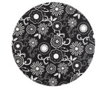 Cake Board - Black and White Flowers