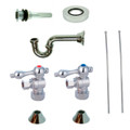 Chrome Kingston Brass CC53301VKB30 Traditional Plumbing Sink Trim Kit with P Trap for Vessel Sink without Overflow Hole, Chrome CC53301VKB30