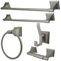 Satin Nickel Kingston Brass BAHK61212478SN Monarch Collection 5-piece Towel Bar Bath Hardware Set, Satin Nickel BAHK61212478SN