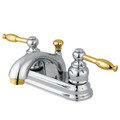 "Polished Chrome/Polished Brass Two Handle 4"" Centerset Lavatory Faucet with Retail Pop-up KB2604KL"