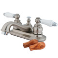 """Satin Nickel/Polished Chrome Two Handle 4"""" Centerset Lavatory Faucet with Retail Pop-up KB607B"""