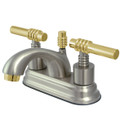 "Satin Nickel/Polished Brass Two Handle 4"" Centerset Lavatory Faucet with Brass Pop-up KS2609ML"