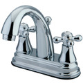 "Polished Chrome Kingston Brass English Vintage Two Handle 4"" Centerset Lavatory Faucet with Brass Pop-up KS7611AX"
