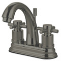 "Satin Nickel Kingston Brass Concord Two Handle 4"" Centerset Lavatory Faucet with Brass Pop-up KS8618DX"