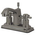 "Satin Nickel Kingston Brass Concord Two Handle 4"" Centerset Lavatory Faucet with Brass Pop-up KS8648DX"