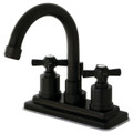 "Oil Rubbed Bronze Kingston Brass Millennium 4"" Centerset Lavatory Faucet, Oil Rubbed Bronze KS8665ZX"