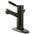 Black Nickel NS8420DKL Water Onyx  single handle lavatory faucet with anti-slide handle sleeve and brass pop up drain, Black Nickel NS8420DKL