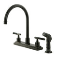 Black Nickel  NS8790DKLSP Water Onyx  8 inch centerset kitchen faucet with lever handles and matching side sprayer, Black Nickel  NS8790DKLSP
