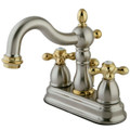 "Satin Nickel/Polished Brass Two Handle 4"" Centerset Lavatory Faucet with Retail Pop-up KB1609AX"