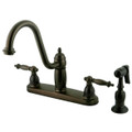 "Oil Rubbed Bronze Double Handle 8"" Kitchen Faucet with Brass Sprayer KB7115TLBS"