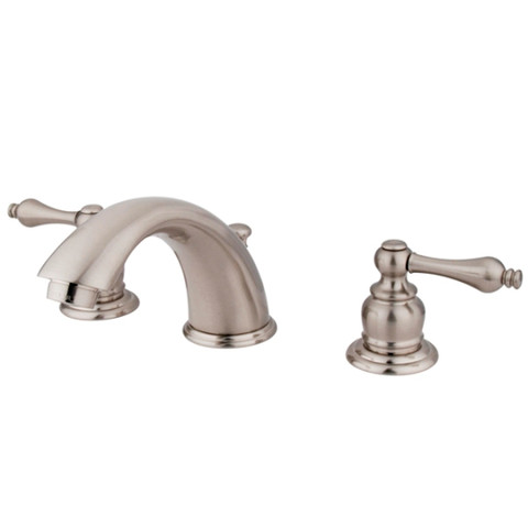 "Satin Nickel Two Handle 8"" to 16"" Widespread Lavatory Faucet with Retail Pop-up KB978AL"