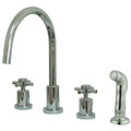 Polished Chrome Kingston Brass Concord Double Handle Widespread Kitchen Faucet with Non-Metallic Sprayer KS8721DX