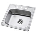 Stainless Steel Gourmetier GKTS2520 Self-Rimming Single Bowl Kitchen Sink, Satin Nickel GKTS2520