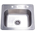 Stainless Steel Gourmetier GKTS2522 Self-Rimming Single Bowl Kitchen Sink, Satin Nickel GKTS2522