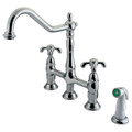 "Polished Chrome Double Handle 8"" Centerset Kitchen Faucet with White Sprayer KS1271TX"