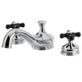 Polished Chrome Kingston Brass Heritage Onyx Roman Tub Filler With Black Porcelain Cross Handle, Chrome KS3331PKX