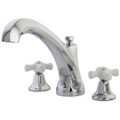 Polished Chrome Kingston Brass Metropolitan Roman Tub Filler with Porcelain Cross Handles KS4321PX