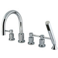 Polished Chrome Kingston Brass Concord Three Handle Roman Tub Filler with Hand Shower KS83215DL