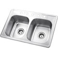 Stainless Steel Gourmetier GKTD332285 Self Rimming Double Bowl Sink, Satin Nickel  GKTD332285