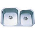 Stainless Steel Gourmetier GKUD3221 Undermount Double Bowl Kitchen Sink, Satin Nickel GKUD3221