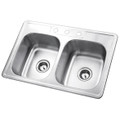 Stainless Steel Gourmetier GKTD332283 Self Rimming Double Bowl Sink, Satin Nickel  GKTD332283