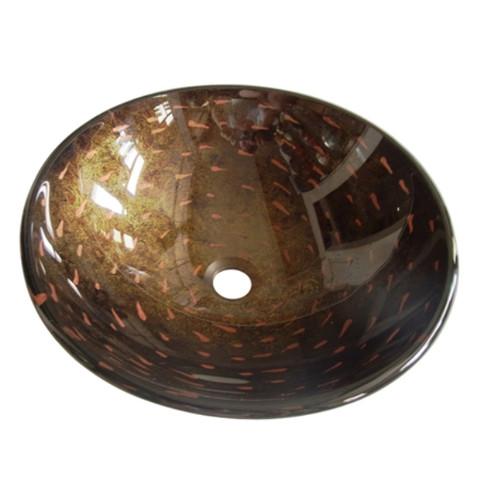 Amber Bronze Fauceture EVSPFB1 Bologna Round Amber Bronze Glass Vessel Sink EVSPFB1