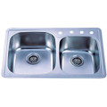 Stainless Steel Gourmetier GKTDD3322C Self-Rimming Double Bowl Kitchen Sink, Satin Nickel GKTDD3322C