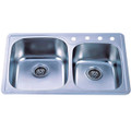 Stainless Steel Gourmetier GKTDD3322CH Self-Rimming Double Bowl Kitchen Sink, Satin Nickel GKTDD3322CH