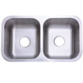 Stainless Steel Gourmetier KU32188DBN Marina Stainless Steel Double Bowl Undermount Kitchen Sink, Satin Nickel KU32188DBN