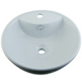 White White China Vessel Bathroom Sink with Overflow Hole & Faucet Hole EV4074