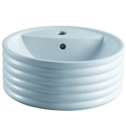 White White China Vessel Bathroom Sink with Overflow Hole & Faucet Hole EV5212
