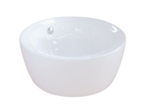 White White China Vessel Bathroom Sink with Overflow Hole EV4019