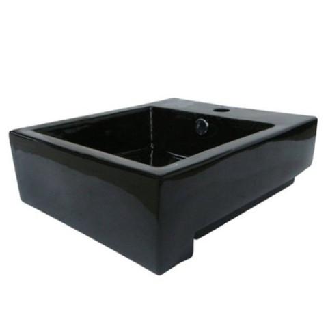 Black Black China Vessel Bathroom Sink with Overflow Hole & Faucet Hole EV4076K