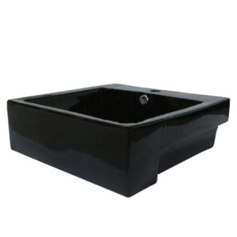 Black Black China Vessel Bathroom Sink with Overflow Hole  EV4034K